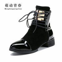 патентные плоские женские туфли оптовых-35-43 Women Boots Genuine Leather Flat  Ankle Boots Womens Motorcycle Autumn Shoes Women Winter Patent leather Botas