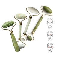 Wholesale green health care for sale - Double Head Green Jade Roller Massager Eye Face Neck Facial Relax Slimming Thin Face Body Beauty Health Care Tools Top Selling