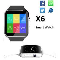 u8 smartwatch sim оптовых-X6 Smartwatch изогнутый экран смарт-часы браслет телефон с SIM-карты TF слот с камерой для Samsung android против U8 DZ09 GT08