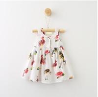 Wholesale Korea Summer Short Dress - Y31479132 2017 Baby Girls Clothes Print Birds Sleeveless Fashion Baby Girls Dress Floral Kids Clothes Korea Princesss Dress