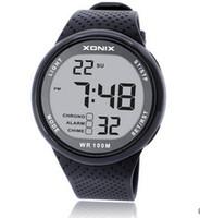 dış mekan çok fonksiyonlu saatler toptan satış-XONIX Erkekler Spor İzle Dijital Su Geçirmez 100 m Yüzme İzle Led Işık Chronograph Çok Fonksiyonlu Diver Açık Kol Saati