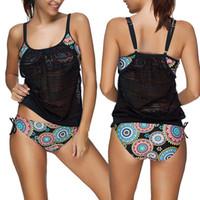 Wholesale hottest plus size swimwear online - Plus Size Hot Tankini Women Swimsuit Bikini Set Padded Swimming Suit Two Piece Swimwear Beach Bathing Suits Ladies Biquini