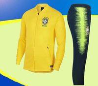 Wholesale brazil brazilian - brazil soccer set jacket suit training jacket 18 19 World Cup Brazilians NEYMAR JR jacket tracksuit Chandal set
