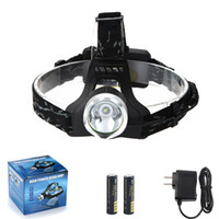 Wholesale CREE XML T6 LED Headlight Headlamp Torch Flashlight lm HEADLAMPS with Rechargeable Battery Charger gift box