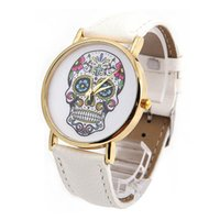 Wholesale Watch Woman Leather Skull - 2017 New Fashion Students Personality Skulls Watch Strap Watch Fashion Gift For Girl Women Digital Wristwatches Clock PT