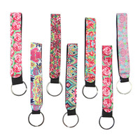 Wholesale wedding keychain favors - Lilly Pulitzer Key Chain Neoprene Bag Charmer Keychain Sublimation Keyring Wedding Favors Gift Novelty Games OOA5383