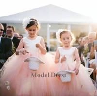 ayak bileği uzunluğu tutu toptan satış-Güzel İlkbahar Yaz Çiçek Kız Elbise Tutu Etek Geri Yay Jewel Ayak Bileği Uzunluk İlk Communion Elbise Kabarık Ucuz Çocuk Doğum Günü törenlerinde