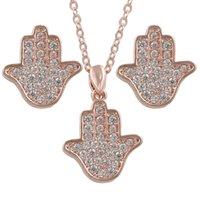 assortiment d'assiettes achat en gros de-Ensemble collier et bijoux en zircone cubique CZ Zircon Hamsa pour femme en 3 couleurs assorties