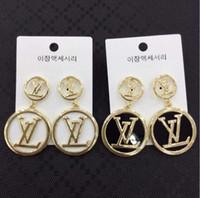 ohrring modelle koreanisch großhandel-Koreanische Version der großen Buchstaben Ohrringe Ohrringe net roten Anker Ohrring Persönlichkeit übertrieben Gezeiten Menschen Explosion Modelle