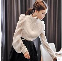 blusa de gasa larga coreana al por mayor-2018 primavera Nueva moda coreana Collar del soporte de las mujeres manga larga manga del soplo del bordado de encaje de retazos de gasa OL blusa