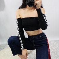Wholesale long off shoulder tshirt online – design Womens Patchwork Plaid Printed Tshirt Off The Shoulder Checkboard Cropped Tops Long Sleeve Slim Casual Black Top