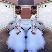 ingrosso black lace dress for plus size-2018 Africano bianco sirena pizzo abiti da ballo per le ragazze nere maniche lunghe Ruffles tulle pavimento lunghezza plus size abiti da ballo da sera vestidos