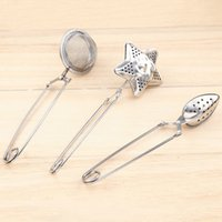 Wholesale Metal Star Shapes - 3 Style Star shape Tea Infuser oval-Shaped 304 Stainless Steel Tea strainer Infuser Spoon Filter Tea Tools Free shipping WX9-196