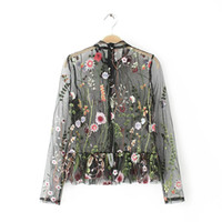 Wholesale beautiful clothes woman online - New Women stand Collar Long Sleeve Beautiful Flower Embroidery Perspective Blouse Lady Casual Elegant Blouse shirts Women clothes