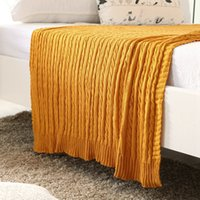 красное хлопковое одеяло оптовых-100% Cotton Children Knitted Adult Blanket Sofa Cobertor Elasticity Blanket Gray Red Yellow Color 110*180cm Size