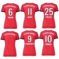 2019 Women  25 MULLER Home Soccer Jersey 18 19 Woman Soccer Shirt  Customized  11 JAMES  9 LEWANDOWSKI Bayern Munich Football Girl Uniform ef4ac6471