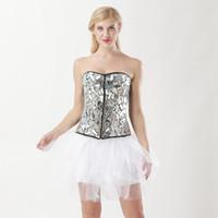 espartilho de lantejoulas preto venda por atacado-Lady Bodysuit lantejoulas saia espartilho preto e branco Steampunk Shapewear formadores de cintura das mulheres Body Shaper Halloween Costume espartilho e saia