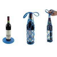 Wholesale travel bottle storage bag - New Arrival Silicone Mesh Bag Basket Insulation Placemat Travel Picnic Wine Bottle Holder Anti-heat Storage Net Bag