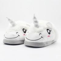 erkek kış terlikleri toptan satış-Bebek Unicorn Shies Erkek Kız Yetişkin Yumuşak Taban Terlik Peluş Kış Toddler Sandal Prenses Sevimli Ev Ayakkabı