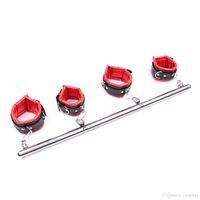 ingrosso barra d'acciaio bdsm-Giochi per adulti BDSM Heavy Duty portatile staccabile in acciaio Gamba sistema di ritenuta barra di contenimento con polsini imbottiti in pelle caviglia Polsini