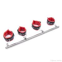 barres d'acier de bondage achat en gros de-Système de retenue de barre d'écarteur de jambe en acier détachable portatif résistant de jeux d'adulte de BDSM avec les poignets de poignet de cheville en cuir capitonnés Équipement de Bondage