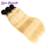 Wholesale hair two weft online - Shesbeauty A Two Tone B Ombre Blonde Human Hair Weave Bundles Peruvian Brazilian Straight Virgin Hair Dark Root Straight Hair