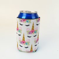 Wholesale tin gift cans - Unicorn Can Wrap Blanks Unicorn Can Cooler Neoprene Tin Covers Wedding Gift Wraps DOMIL106551