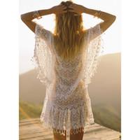 Wholesale robes plage online - New Arrivals Sexy Beach Cover up White Crochet Tassel Robe de Plage Pareos for Women Swim Wear Saida de Praia Beachwear Coverups
