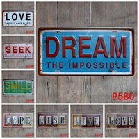 Wholesale Folk Art Shop - Creative License Plate Tin Posters Dream The Impossible Hope Wish 30*15cm Tin Sign Live Love Iron Paintings For Shop Decor 3 99lS B