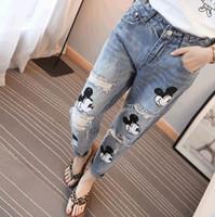 ingrosso offrono pantaloni-2016 Offerta speciale Softener Tasche Patchwork Low Fashion Boyfriend Jeans per donne Hole Vintage Girls Denim Pencil Pants