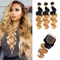 Wholesale 1b 27 human hair weave - T 1B 27 Dark Root Honey Blonde Body Wave Ombre Human Hair Weave 3 Bundles with Lace Closure Brazilian Virgin Hair Extensions Weft