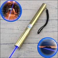 caneta laser militar venda por atacado-BE5-A Feixe Visível Militar 450nm 10 Milhas Mais Poderoso Banhado A Ouro Foco Ajustável único ramo Azul Caneta Laser Pointer 5 tampas Da Estrela