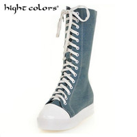 платформенные коленные сапоги оптовых-Fashion Canvas Women Knee High Boots Round Toe Short Plush Women Snow Boots Tall Punk Casual Platform Flat Shoes
