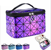 Wholesale travel cases for women - Cosmetic Bag For Women 3D Laser Diamond Pattern Portable Make Up Bag Case Travel Jewelry Organizer Make Up Bag LJJK944