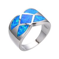 Wholesale geometric rings online - Simple Women Geometric Ring Blue Fire Opal Ring Fashion White Gold Filled Jewelry Vintage Wedding Rings For Women