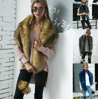 Wholesale scarves fur resale online - 4 color Faux fox fur scarves with faux fur color warm collar fur collar scarf Ladies Long Wrap Scarves KKA5929