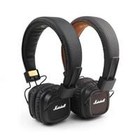 bajos de rock al por mayor-Marshall Major II Auriculares con micrófono Diadema Bass Bass Monitor de estudio Rock DJ Headphones Hi-Fi Auriculares Marrón Negro