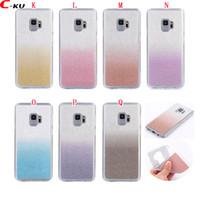 parlak cep telefonu kutuları toptan satış-Samsung Galaxy S9 Artı A8 2018 Bling Glitter Yumuşak TPU Kılıf Parlak Çift Renk Moda Renkli Toz Sparkle Cep Telefonu Cilt Kapak 100 adet