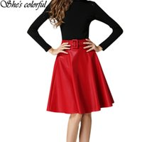 Wholesale Red Leather Skirts - Autumn Winter Fashion Women Midi Leather Skirt With Belt A-line Pleated High Waist Ladies Casual Skater Skirt YQ9990