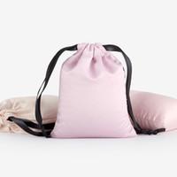 hediye çantası baskısı toptan satış-50 adet / grup 9 * 14 cm Yüksek Kalite Özel Logo Baskılı Saten Ipek İpli Çanta Ambalaj Hediye Çantası Seyahat Kılıfı Toptan Fiyat