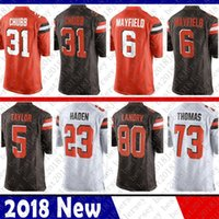 jersey marrón 73 al por mayor-Limitado Cleveland 6 Baker Mayfield Browns Jersey 80 Jarvis Landry 23 Joe Haden 73 Joe Thomas camisetas de fútbol