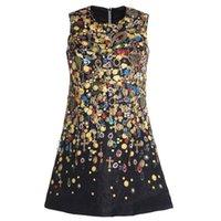 kristal boncuk tasarımı elbise toptan satış-Lüks pist tasarım kadın o-boyun kolsuz Paralar çapraz mücevher baskı taklidi kristal boncuk a-line gevşek tank elbise jakarlı vestidos