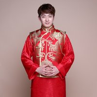 traditioneller kleidermann großhandel-Männliches Kostüm cheongsam chinesischer Art die ethnische Kleidung der Bräutigam Vestido-Jackenlangkleid-traditionellen chinesischen Hochzeitskleid-Männer