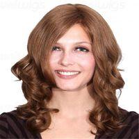 tam dantelli peruk kıvırcık toptan satış-Tam Dantel Peruk Açık renkli bukleler% 150% Yoğunluk İnsan Saç 100% Tam Dantel Peruk Dalgalı Ombre Renk Brezilyalı Beyaz Kadınlar Için Uzun Saç Peruk peruk