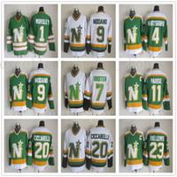 vintage jersey de estrellas del norte al por mayor-Vintage del norte de Minnesota Stars de hockey sobre hielo de los jerseys 1 Gump Worsley 9 Mike Modano 20 Dino Ciccarelli 11 JP PARISE 4 Craig Hartsburg jerseys