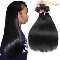 Wholesale queens peruvian hair - 8A Peruvian Straight Virgin Hiar 4 Bundles 100% Unprocessed Peruvian Human Hair Weaves Peruvian Virgin Hair Straight Dyeable Gaga Queen Hair