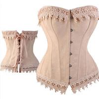 Wholesale lace basque lingerie - Sexy Lace Up Boned Burlesque Corset Tops Cream Lace Trim Corset Busiter Basque Lingerie Underwear Plus Size S - 6XL
