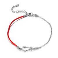 rote fadenkristalle großhandel-Thin Red Thread Saiten Armband Silber 925 Glück Armbänder für Frauen Kristall Brosche Kettenglied Armband Schmuck W3 BA033