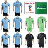 Wholesale maxi pants - Men Soccer 7 Cristian Rodriguez Uruguay Jersey Set 2018 World Cup 10 Diego Forlan 16 Maxi Pereira Football Shirt Kits Blue With Short Pant