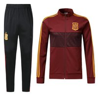 Wholesale nylon jogging pants - top quality 2018 Spain Jacket tracksuit SERGIO RAMOS A.INIESTA ASENSIO ISCO PIQUE Soccer jersey Jogging Football Pants Chaqueta